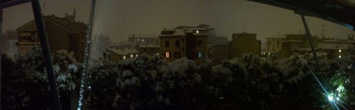 Night and snow terrace panorama